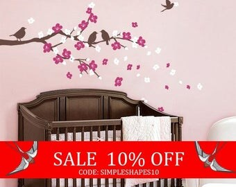 Summer Sale - Cherry Blossom Branch with Birds - Kids Vinyl Wall Sticker Decal Set