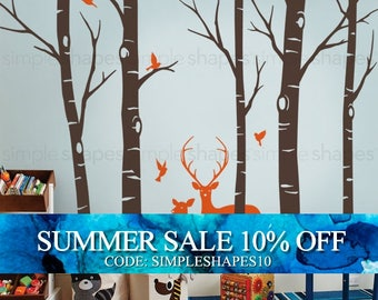 Birch Tree Wall decal with Deer and Bird Wall Decals Sticker Set W1116