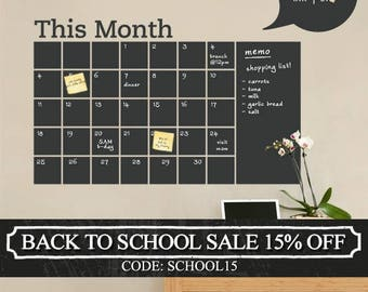 Chalkboard Wall Decal - Monthly Calendar