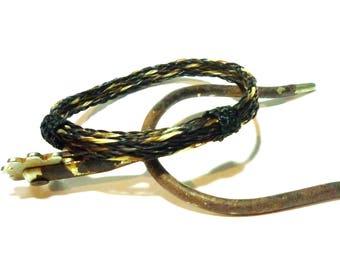 Horsehair Adjustable Bracelet - Black, Sorrel and Grey Braided Horsehair Triple Braid Reversable