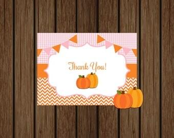 Pumpkin Thank You Card, Pumpkin Baby Shower Thank You Card, Pumpkin Baby Shower, Thank You Card, Instant Download