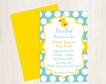 Yellow Duck Baby Shower, Rubber Ducky Baby Shower Invitation, Rubber Duck Invitation, Boy Baby Shower, Blue Yellow Duck Invite