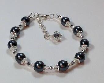 Dark Grey Pearl Bridal Bridesmaid Bracelet