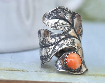 silver leaf ring, cocktail ring, OAK TREE LEAF, sterling silver oversized leaf ring with genuine pink coral gemstone,