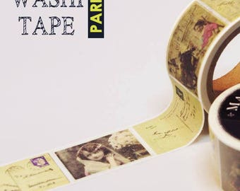 Antique masking tape - Girl's post card -  25mmW - Washi