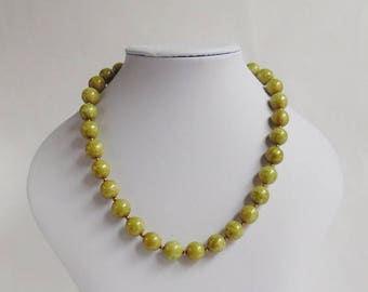 Clearance Sale 30% Off - Vintage Mottled Green Glass Beaded Necklace with Gold Spacer Beads and Fish Hook Clasp,