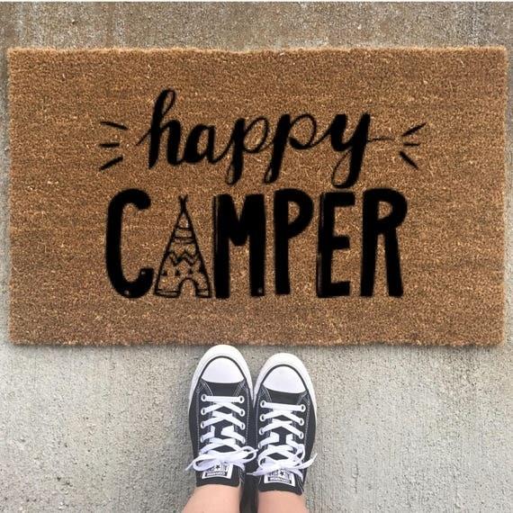 Items Similar To Happy Camper Custom Door Mat Camping