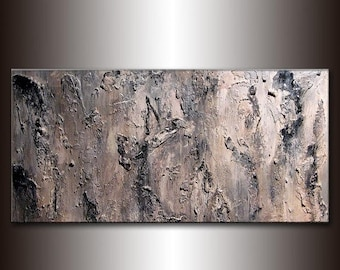Original Textured Abstract Painting, Black,  White ,Gray Contemporary Art, Modern Abstract fine art, by Henry Parsinia Large 48x24IIIIIIIII