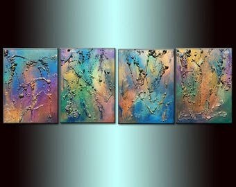 Huge Original Abstract Painting, Textured Metallic Art by Henry Parsinia large 72x20
