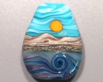 3D Wave - Artisan Handmade Lampwork Glass Bead Focal - SRA