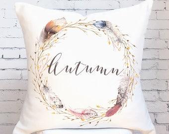 Autumn Pillow Cover Fall Decor Feather Wreath Autumn