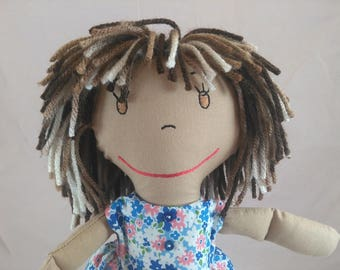 Rag Doll, embroidered face,multi-colored hair,Removable Clothes,Rag Doll,Fabric Doll, Stuffed Doll,Plush Doll