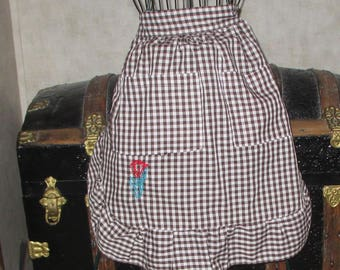 SALE Apron hand emgroidered red Tulip on brown and white gingham ruffled bottom vintage apron