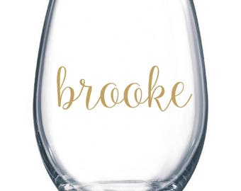 DIY Personalized Name Wine Glass Kit for 21 Glasses Wedding Party * Decals * Bride * Bridal Party * Rehearsal Dinner * Easy Project Save