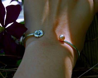 "April - Pearl and silver cuff bracelet, small 2 3/8"" interior diameter, silver bracelet, teens, women, gift idea, June birthday,prom,jewelry"
