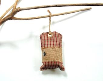 Pine sachet, hanging sachet tag, door knob hanger, Christmas decor, country home, red homespun cotton plaid, pine cinnamon mix, gift for her