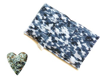 Hot cold pack, microwavable, aromatherapy, microwave heat pack, black blue, freezer cold pack, flax seed, rice, lavender buds