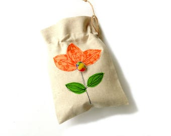 Gift bag, linen pouch, Happy birthday, drawstring gift bag, bracelet bag, appliqued flowers, orange flower, jewelry travel pouch