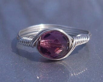 25% Off Sale Amethyst Czech Glass Argentium Sterling Silver Wire Wrapped Ring