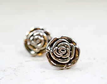 Large Silver Rose Earrings, Silver and Black Botanical Jewelry, Metal Studs