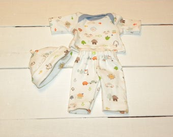 White Patterned Pajamas and Hat - 12 inch boy doll clothes