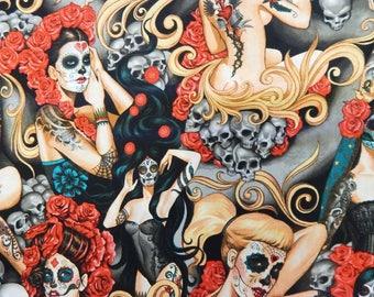 "Las Elegante Pattern Fabric, 18"" X 44"", Half Yard, Cotton Fabric, New, Rare"