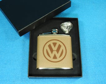 Volkswagen Leather Flask and Funnel Gift Set - Great Christmas gift for VW lovers! VW Microbus, VW Beetle, Jetta