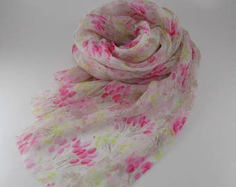 Handmade Silk Scarf --- Pink and White / Tulip