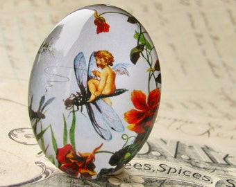 Fairy riding a dragonfly, handmade 40x30 40x30mm  glass oval cabochon, fantasy stories, Victorian children's books, white, red, green