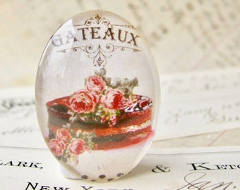Pink flowers on a chocolate cake, 40x30mm glass oval cabochon from our Bountiful Bakery collection, handmade glass oval cabochon, Gateaux