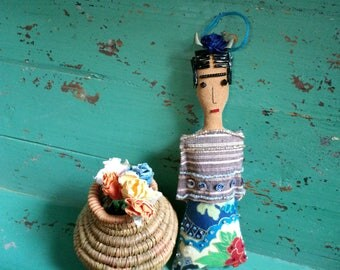 Frida Kahlo Doll - Frida Doll - Frida Kahlo Art Doll - Folk Art Ornament - Frida Kahlo Ornament - Inspired by Mexican Folk Art - Beaded Doll