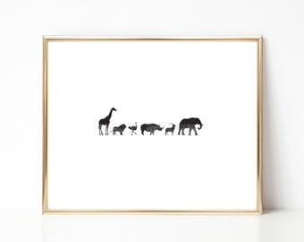 Safari Animals Ink Texture Print, Black and White PRINTABLE Nursery Art, Instant Download Print, African Art, Minimal Art Print, Modern Art