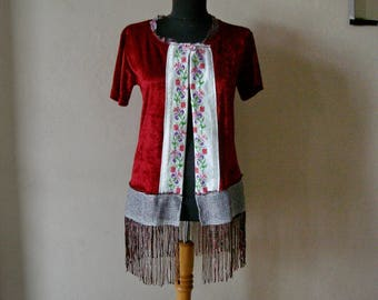 Fringe Vest Women, Upcycled Clothing Bohemian Vest with Fringe Size M Vintage cross stitch embellished vest