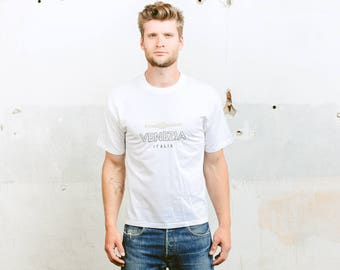 Venice Print T-Shirt . Men's Cotton T-Shirt White Tee Shirt 90s T-shirt Boyfriend Gift Hipster T-shirt Normcore T-Shirt . size Medium