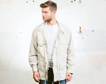 Mens Parka Jacket . Vintage 1990s Field Coat Lightweight Grey Jacket 90s Outerwear Sportswear Activewear . size Extra Large
