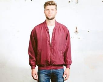 Men's SILK BOMBER Jacket . Oversized Vintage 90s Jacket Zip Up 80s Flight Jacket Red Pink Grunge Coat Outerwear . size Medium