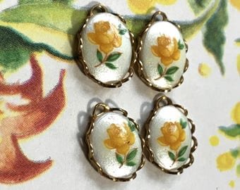 Yellow rose charms, porcelain charms,garden Vintage Charms Limoges,9x12mm charms,Dangles Drops,Limoges Connectors Findings #558G