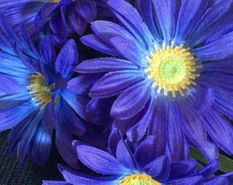 Flower Pen Set of 6 Blue Purple Gerbera Daisies Guest Pen Wedding Bridal Shower Party Favors