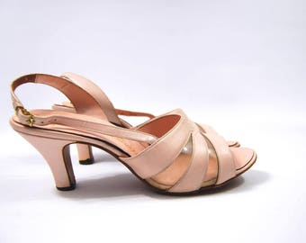 Late 1950s Pale Pink Heels / 60s O'Connor and Goldberg Amano - Light Pink - Sling Back Heels - All Leather Early 1960s