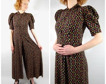 Late 1930s Wide Legged Jumpsuit / Cotton Rayon Floral Jumpsuit // Early 1940s WWII style Colorful floral Print pattern