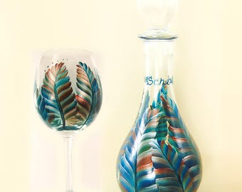 Hand Painted Wine Gift Set Decanter + Glasses -  Feathers in Turquoise Copper Sienna - Barware Wine Serving Set Beverage Carafe