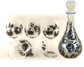 Beverage Serving Gift Set - Hand-Painted Wine Liquor Carafe + 4 Glasses - Personalized 25th Anniversary Gift Idea Wine Serving Gift Set