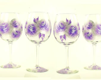 Bridesmaid's Glasses 8x Personalized HandPainted, Your Choice of Stemware - Purple and Silver Roses - Amethyst Bachelorette Party Glasses