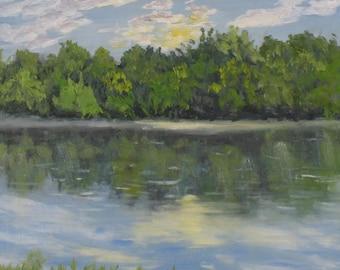 "Small oil painting, original oil,  landscape, sunrise, lake painting, 6"" x 6"""