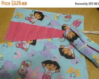 Sale Late summer SALE Crayon Roll Cozy Holder Dora Other Styles Available