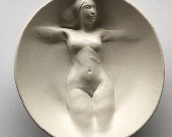 Ceramic Nude Wall Sculpture, Bas Relief Roundel Bowl, Erotic Art Pottery Mature