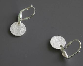 Brushed Silver Disc Earrings - Simple Earrings - Dot Earrings - Celebrity Inspired - Dangle Earrings - Everyday Earrings - Drop Earrings