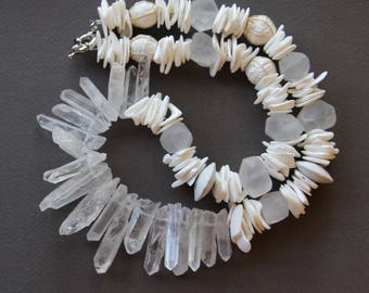 Icy Quartz Crystal Necklace Matte Rock Crystal Points and Nuggets with White Seashells Cool White Summer Necklace Gemstone Jewelry