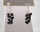 Black Glass Dangle Earrings, Black and Silver Earrings