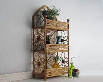 Vintage Rattan/Bamboo storage shelf – Natural Rattan - mid century – Boho décor